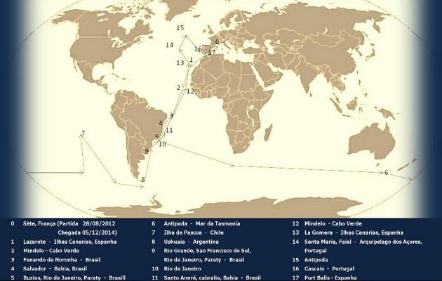 Mapa com o trajeto de volta ao mundo que Izabel Pimentel realizou.