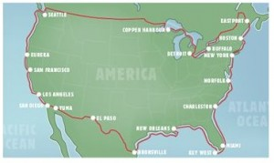 Mapa da circunavegação de Renata Chlumska na expedição Around America Adventure em 2005/2006.
