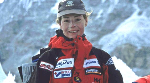 Registro de Renata Chlumska depois de ter chegado ao topo do mundo em maio/1999 - Foto: Arquivo pessoal.