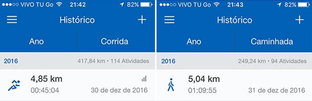 Total de corrida e de caminhada que fiz em 2016 registrado pelo aplicativo Runtastic - Sou muito fã da Nike.