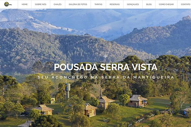 Imagem da homepage do website da Pousada Serra Vista, desenvolvido por Amandina Morbeck.