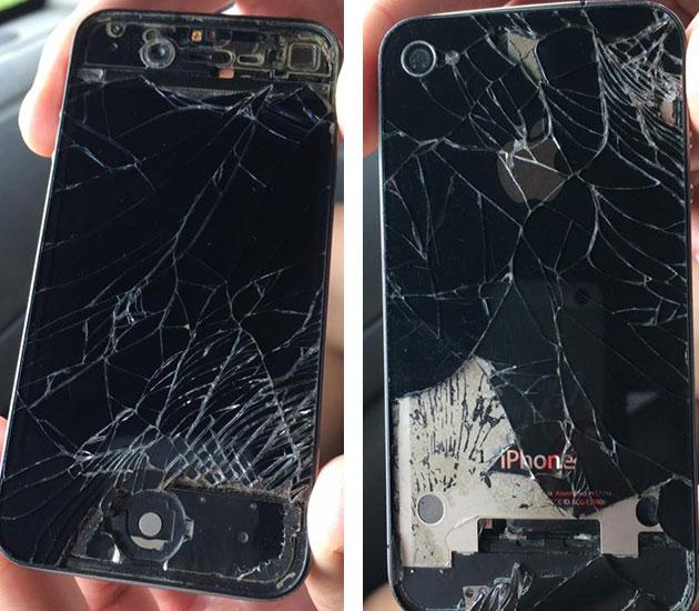 iPhone velho de guerra - Nunca vi um iPhone nesse estado de destruição - Fotos: Amandina Morbeck.