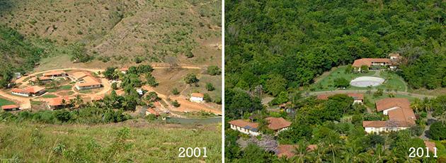 A fazenda da família de Sebastião Salgado em Aimoré (MG) e a diferença em dez anos - Fotos: Reprodução.