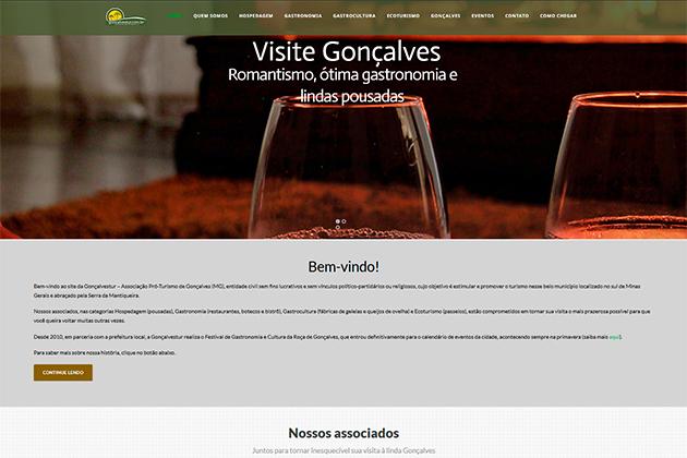 Imagem da homepage do site da Gonçalvestur - Associação Pró-Turismo de Gonçalves MG.