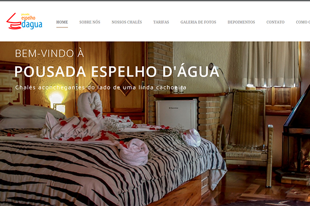 Imagem da homepage do website da Pousada Espelho D'Água, desenvolvido por Amandina Morbeck.