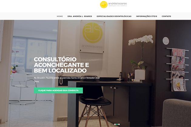 Imagem da homepage do site da Dra. Andréa Linhares Soares, ALS Odontologia no Bairro Brooklin Paulista em São Paulo (SP).